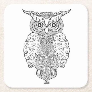 Doodle Owl Square Paper Coaster