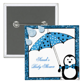Doodle Penguin Boy Baby Shower Pin