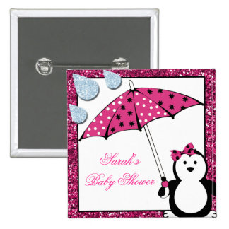 Doodle Penguin Girl Baby Shower 15 Cm Square Badge