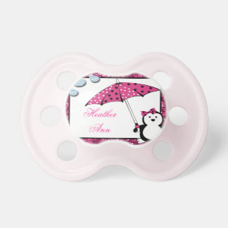Doodle Penguin Girl Baby Shower Baby Pacifiers