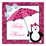 Doodle Penguin Girl Baby Shower Personalized Announcements