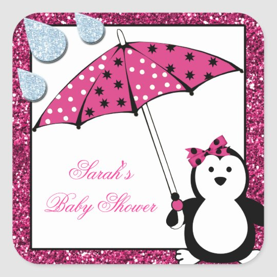 Doodle Penguin Girl Baby Shower Square Sticker