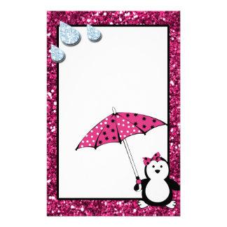 Doodle Penguin Girl Baby Shower Stationery