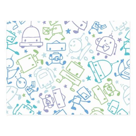 Doodle robots pattern postcard