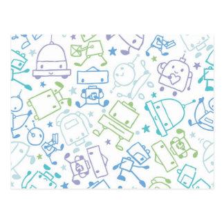 Doodle robots pattern postcards