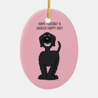 Doodle Smile black Christmas Ornament