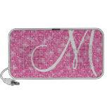 Doodle Speaker - Monogram Pink Glitter Disco Ball