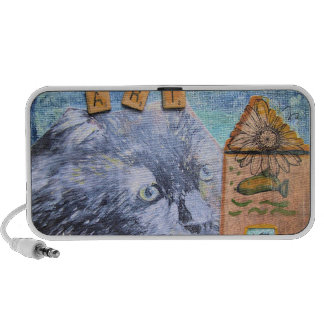 Doodle Surreal Cat Mixed Media Notebook Speakers