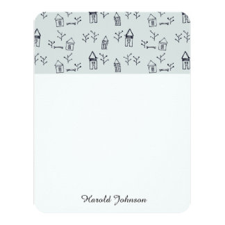 doodle tree & houses 11 cm x 14 cm invitation card