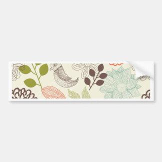 doodle vector birds anf flowers bumper sticker
