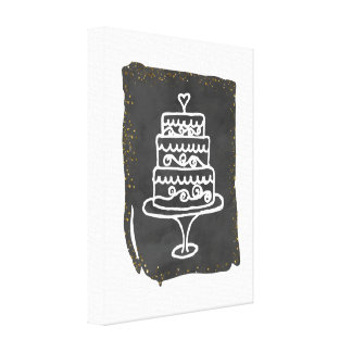 Doodle Wedding Cake With Golden Accents Canvas Print