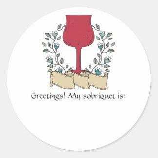 Doodle wine glass wine tasting sommelier round sticker