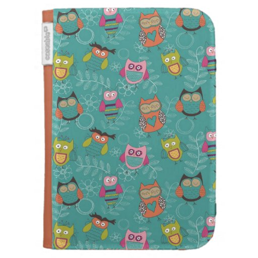 Doodled Owls on Teal Kindle Covers