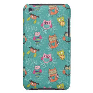 Doodled Owls on Teal iPod Case-Mate Cases