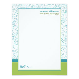 Doodles Custom Flat Note Cards (aqua/lime) 11 Cm X 14 Cm Invitation Card