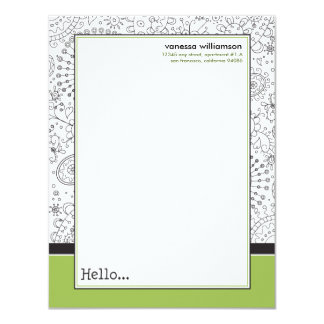 Doodles Custom Flat Note Cards (black/lime) 11 Cm X 14 Cm Invitation Card