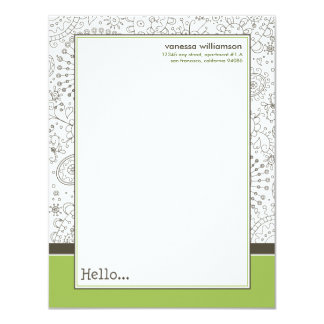 Doodles Custom Flat Note Cards (brown/lime) 11 Cm X 14 Cm Invitation Card