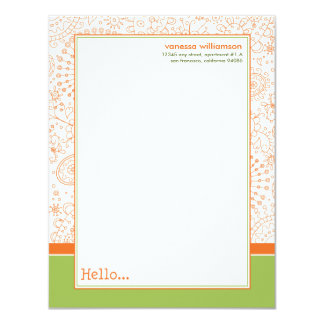 Doodles Custom Flat Note Cards (orange/lime) 11 Cm X 14 Cm Invitation Card