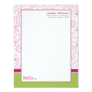 Doodles Custom Flat Note Cards (pink/lime) 11 Cm X 14 Cm Invitation Card