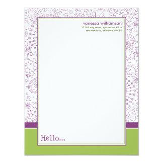 Doodles Custom Flat Note Cards (purple/lime) 11 Cm X 14 Cm Invitation Card