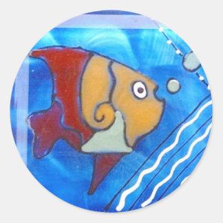 DooDles Fish Classic Round Sticker