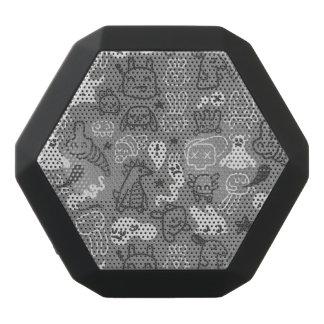doodles pattern illustration black boombot rex bluetooth speaker