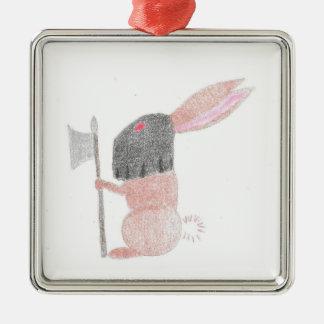 Doom Bunny Silver-Colored Square Decoration
