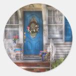 Door - A bit of blue Round Sticker