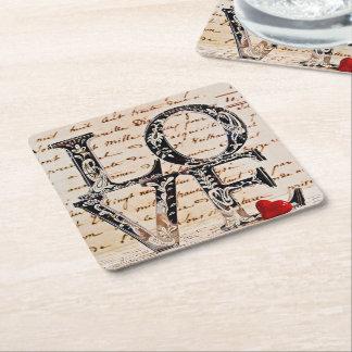 "Door-cups ""LOVE "" Square Paper Coaster"