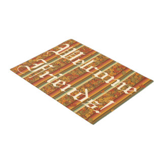 Door Mat - Autumn Leaves and Stripes