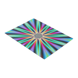 Door Mat  Star in Turquoise Blue and Pink