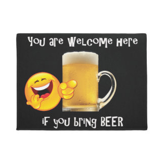 Door mat with beer cup