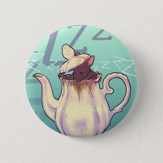 Door Mouse with teapot 6 Cm Round Badge