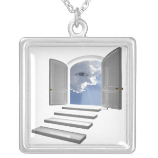 Door opened on a mystic eye silver plated necklace