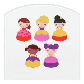 Door sign with Little girls