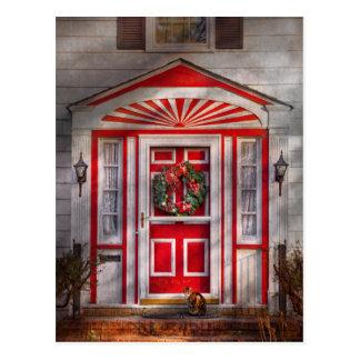 Door - Winter - Christmas kitty Post Card