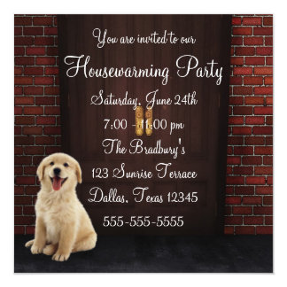 Doors Dog Brick Wall Housewarming Party Card