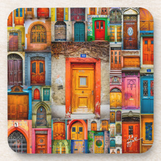 Doors of the World Orange Fine Art Coaster