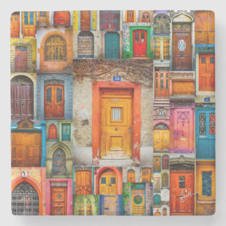 Doors of the World Orange Fine Art Stone Coaster