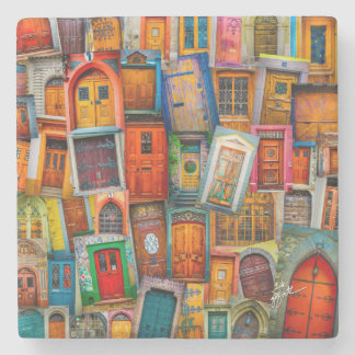 Doors of the World Unique Fine Art Stone Coaster