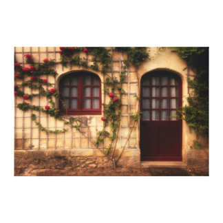 Doorway of rose cottage canvas print