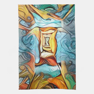 Doorway to beyond, abstract expression dreamscape tea towel