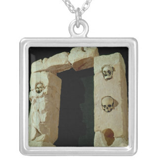 Doorway with Skulls Silver Plated Necklace