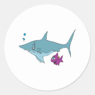dopey shark and fish round sticker