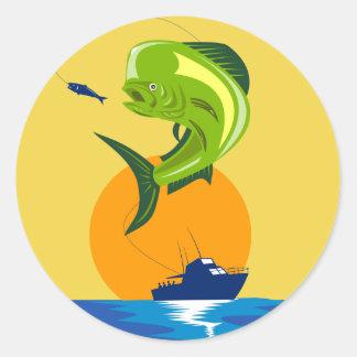 Dorado dolphin fish mahi-mahi classic round sticker