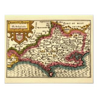 """Dorcetshire"" (Dorsetshire) Dorset County Map 11 Cm X 14 Cm Invitation Card"