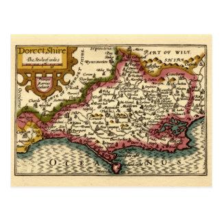 """""""Dorcetshire"""" (Dorsetshire) Dorset County Map Postcard"""