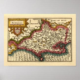 """""""Dorcetshire"""" (Dorsetshire) Dorset County Map Poster"""