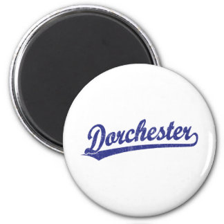 Dorchester script logo in blue fridge magnets