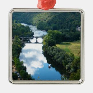 Dordogne Chateau Castle River Boat Bridge Water Silver-Colored Square Decoration